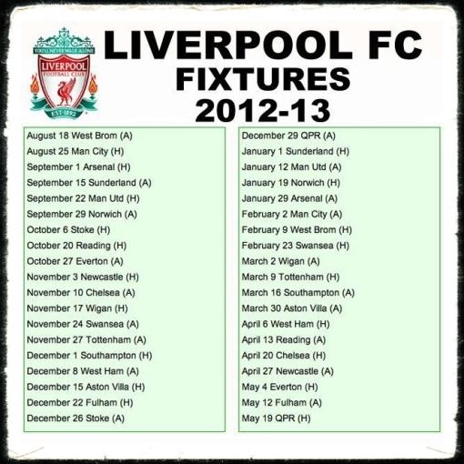2012 2013 Season Opens With Sleeping: Liverpool FC Fixtures 2012 – 2013