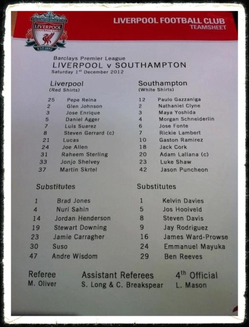 Liverpool v. Southampton Team Sheet