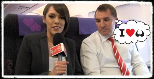 Brendan Rodgers Claire Rourke interview Europa League plane Udinese boobies boobs tits
