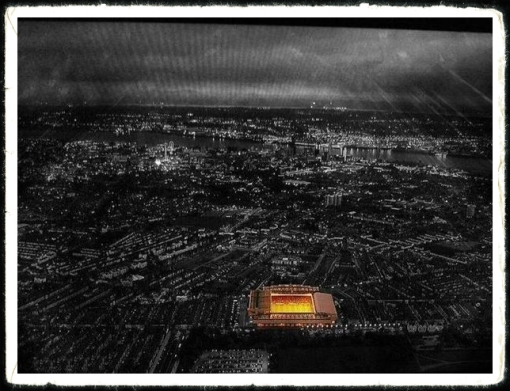 Anfield At Night Aerial Shot Liverpool FC