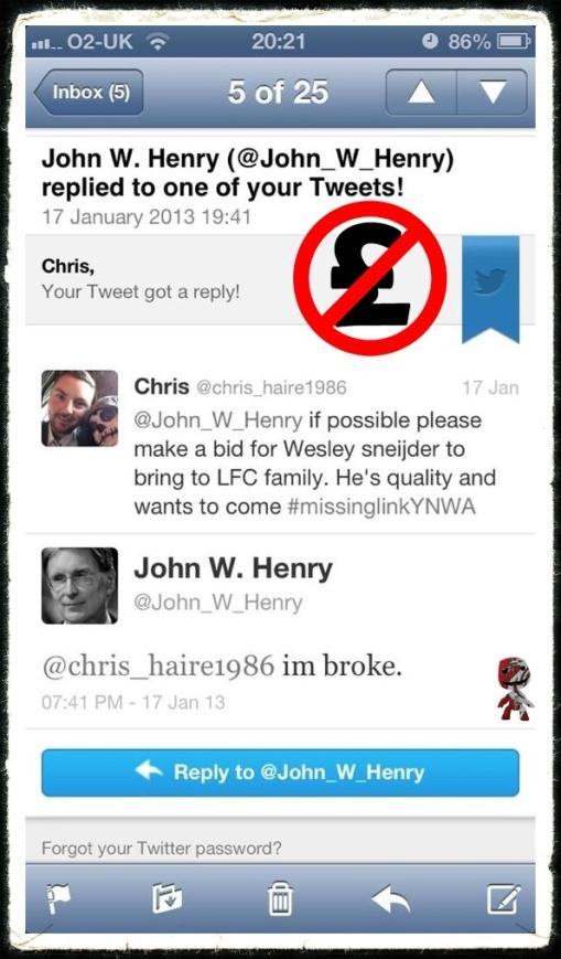 John W Henry 'Skint' Tweet I'm Broke