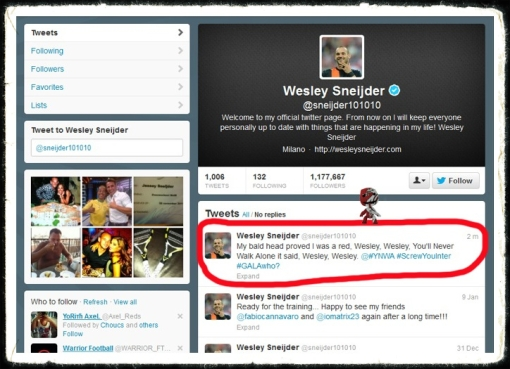 Wesley Sneijder Tweet Liverpool Football Club His Bald Head Proved He Was A Red