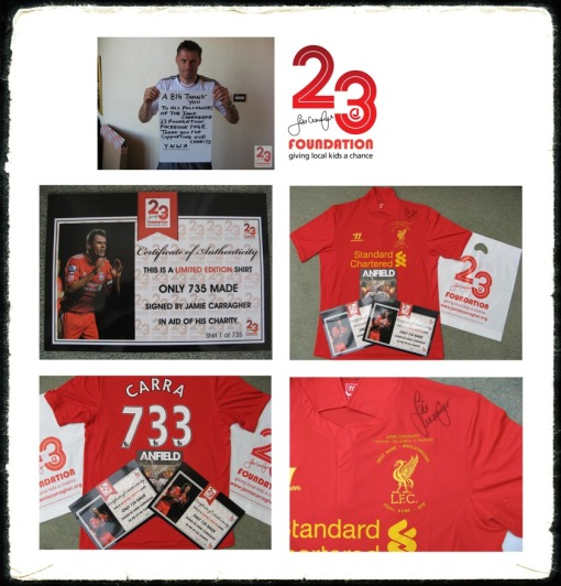 Jamie Carragher 23 Foundation Carra 733 signed shirt