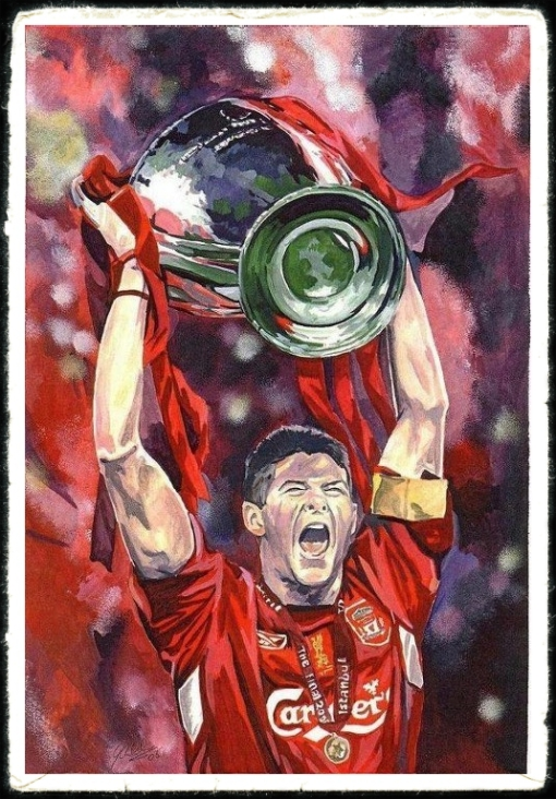 Steven Gerrard Champions League 2005 Painting