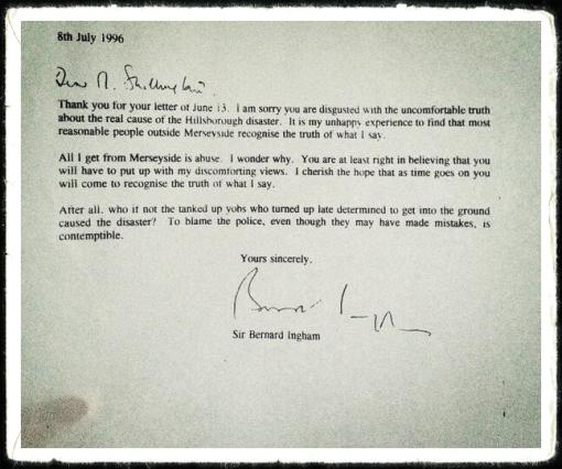 Bernard Ingham Letter JFT96 Hillsoborough Justice Campaign