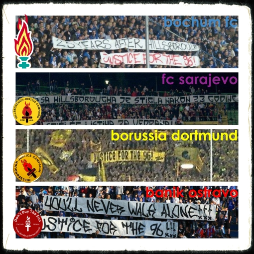 Justice For The 96 JFT96 Hillsborough Borussia Dortmund Banik Ostravo Bochum FC FC Sarejevo