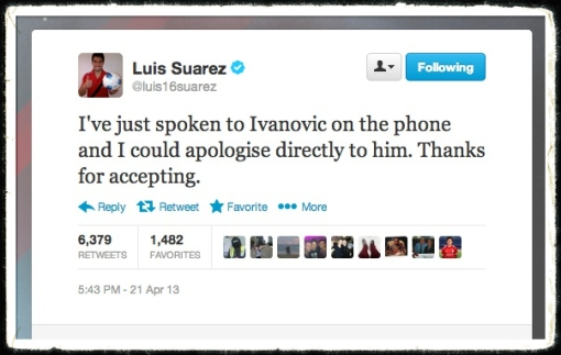 Luis Suarez Tweet Apology Ivanovic bite