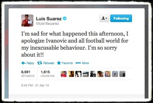 Luis Suarez Tweet Apology Ivanovic Bite