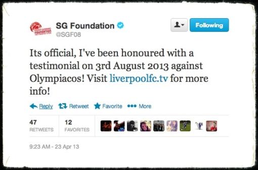 Stevie G Steven Gerrard Testimonial Tweet August 3rd. 2013 Olympiacos Olypiakos