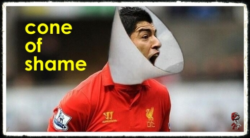 Suarez Bites Ivanovic  The Cone of Shame