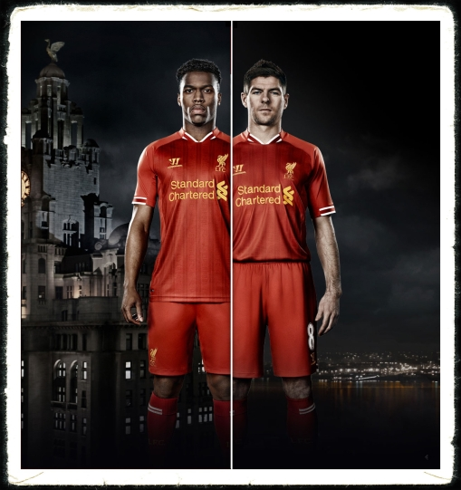 Liverpool FC new home kit 2013 2014 Gerrard Sturridge Warrior