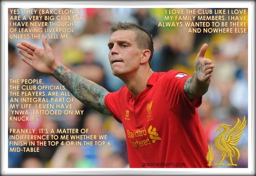 Daniel Agger Legend Danish press quote Liverpool FC Barcelona