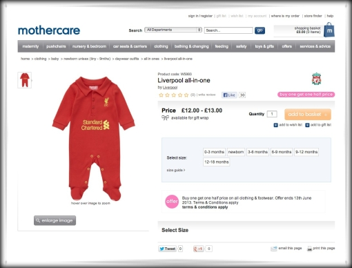 Mothercare Liverpool FC 'All-In-One'