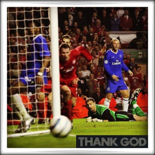 Liverpool Chelsea Anfield Champions League Semi Final Gudjohnsen Miss