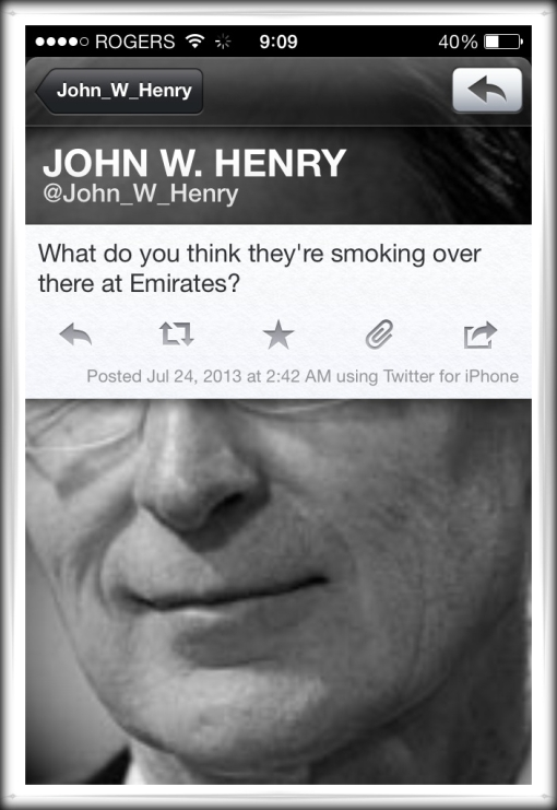 Liverpool FC owner John HEnry tweet Twitter Arsenal Emirates quote drugs smoking