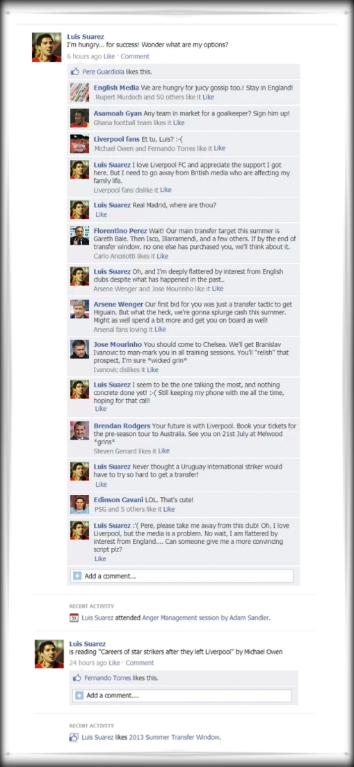 Luis Suarez Facebook Spoof conversation Guardiola