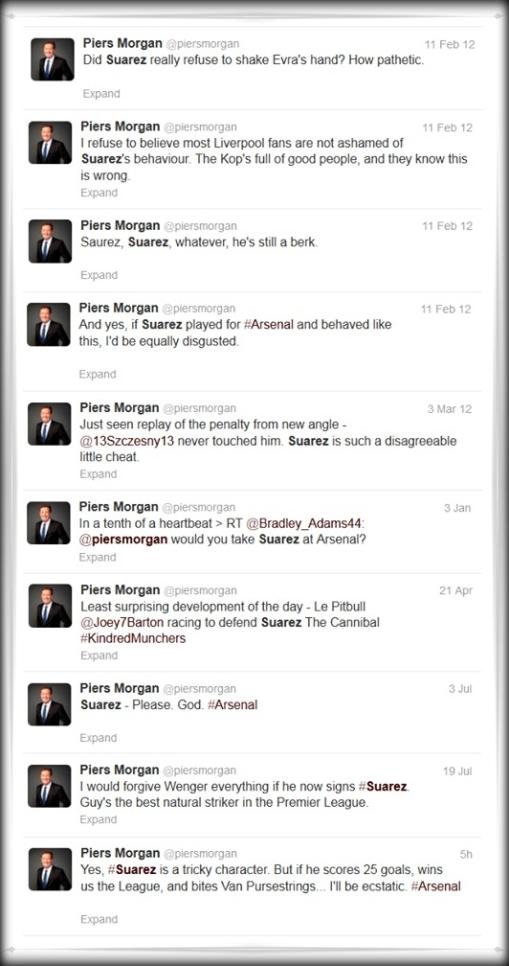 Piers Morgan Suarez Tweets