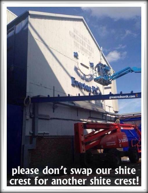 new Everton sign crest Goodison crane wall