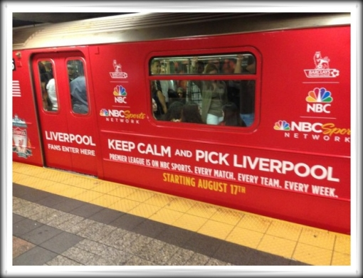 NBC Sports Network Premier League Ad Advertising Liverpool FC NYC Subway Car Carriage