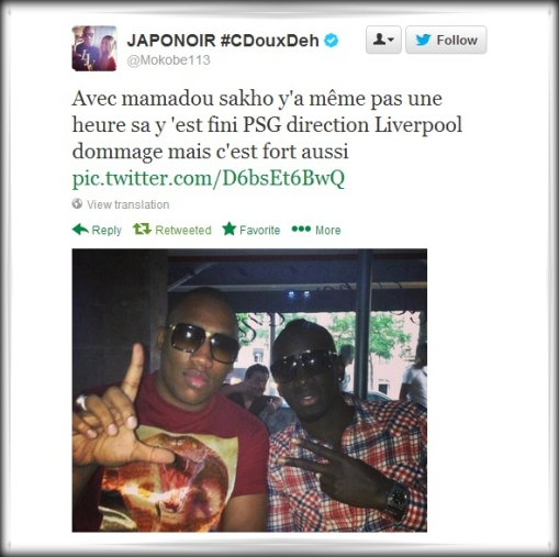 Sakho Tweet French rapper Mokobe on twitter says his friend Mamadou Sakho is on his way to Liverpool!