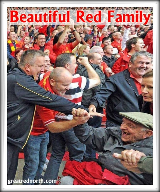 Liverpool 1-0 Man Utd. happy fans old man pensioner wheelchair