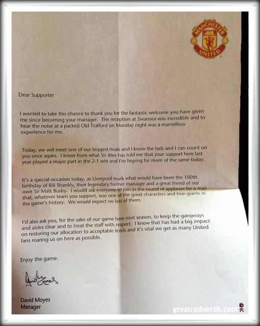 David Moyes Letter Manchester United Liverpool Bill Shankly's Birthday 100