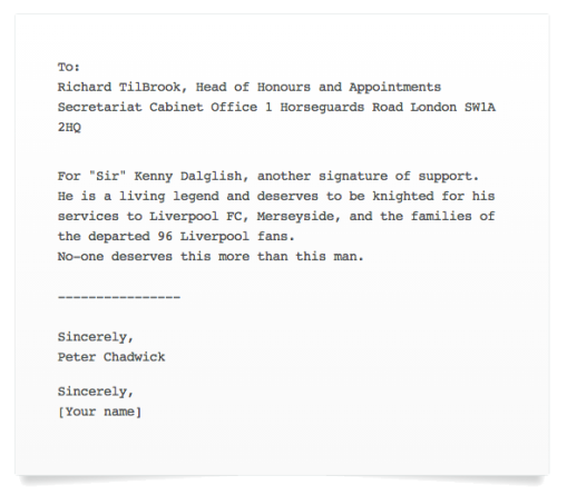 Kenny Dalglish Petition Recognition for services to Liverpool FC, Celtic FC, Merseyside, Charity and the Hillsborough families
