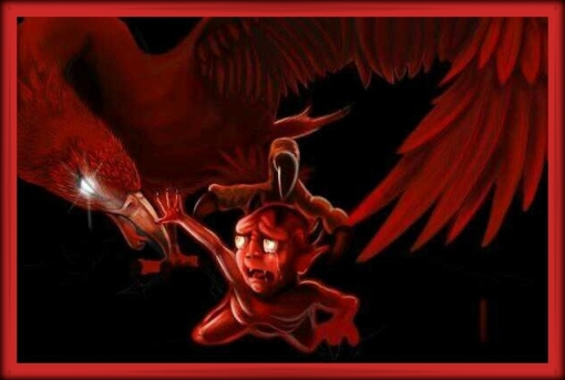 Liverpool FC Liverbird Eats Gollum Moyes Red Devil Din-Dins
