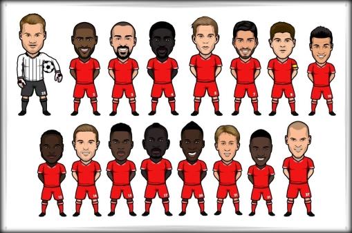 LFC Liverpool FC 2013 2014 Squad cartoon sticker decal