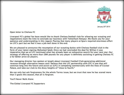 Liverpool Spurs Chelsea transfer letter scouting