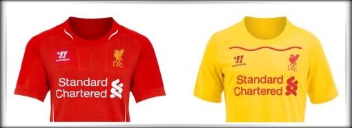 2014-2015 Kit Shirt Liverpool FC Warrior Standard Chartered Home Away