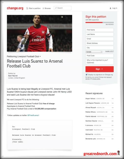 Arsenal #FreeLuisSuarez petition