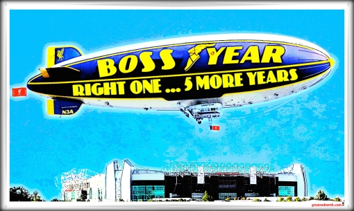 Boss Year Moyes In Moyes Out Old Trafford Banner Good Year Blimp Plane Aeroplane
