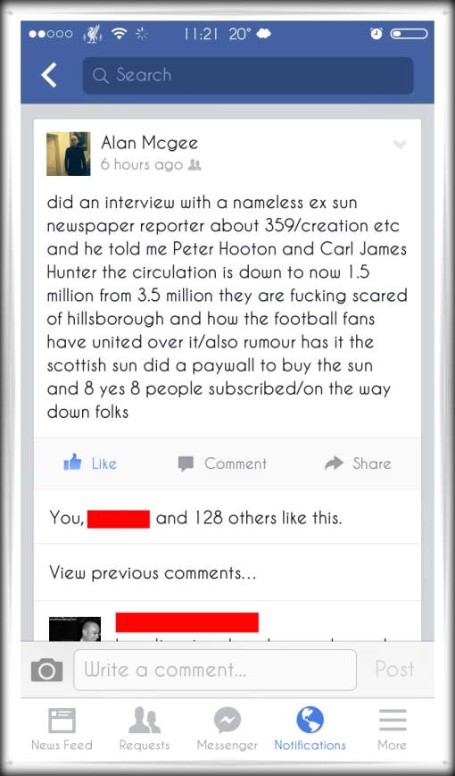 Alan McGee Creation tweet Hillsborough The Sun